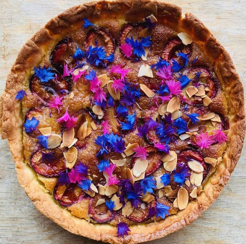 frangipani-victoria-plum-tart-strawberry-jam-and-cornflowers