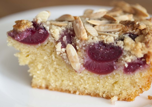 Hugh's fresh cherry cake with streusel topping
