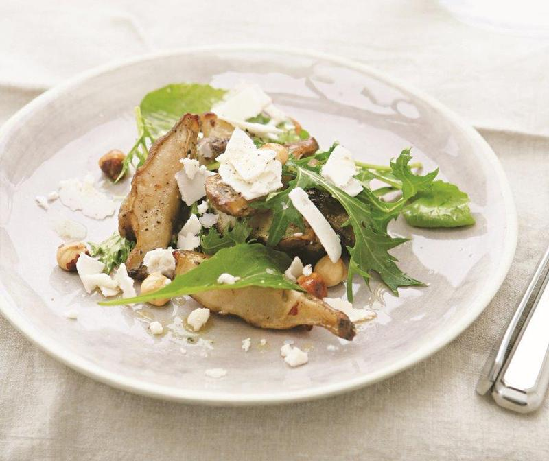 Roast Jerusalem artichoke, hazelnut and goat's cheese salad