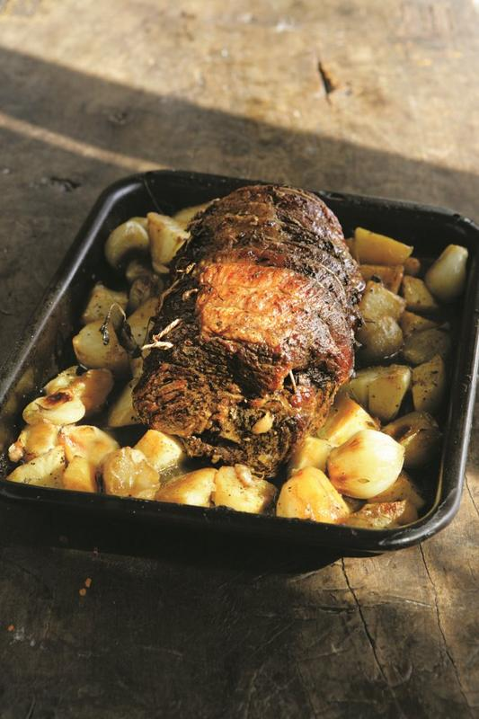 Slow-roast beef brisket with potatoes and onions