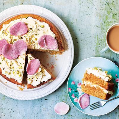Rose and pistachio cake
