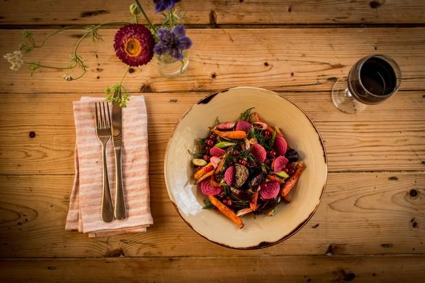 Summer salad of roast carrots, beets and redcurrants