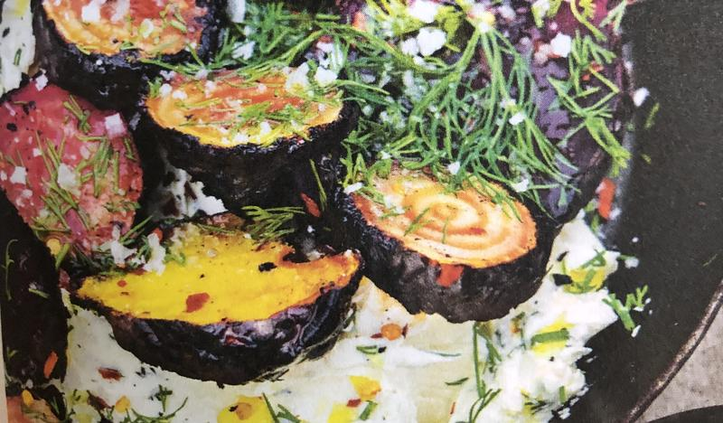 Grilled beetroot with labneh and dill