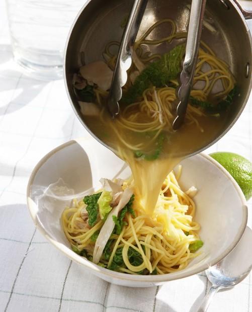 Noodles, chicken, greens
