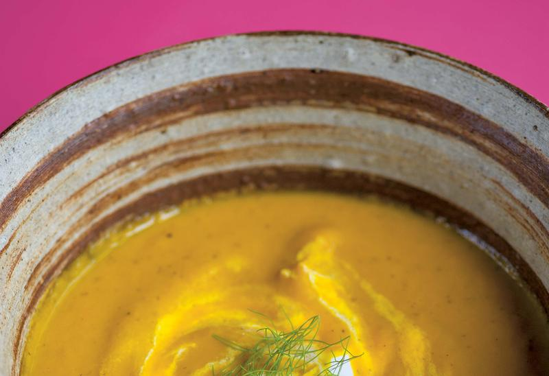 Carrot soup with dill and mustard