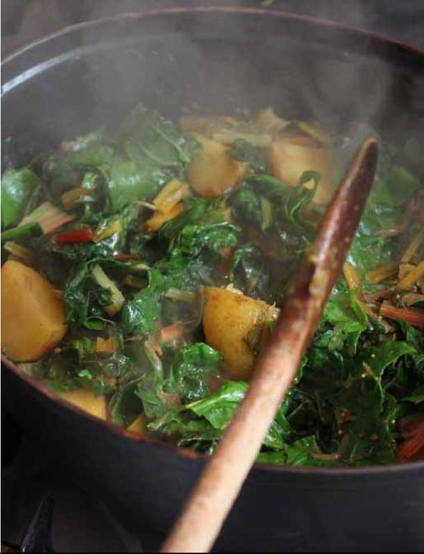 Chard and new potato curry