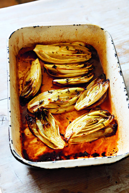 Roasted chicory with honey, mustard and thyme
