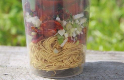 Chorizo & tomato instant noodles in a pot
