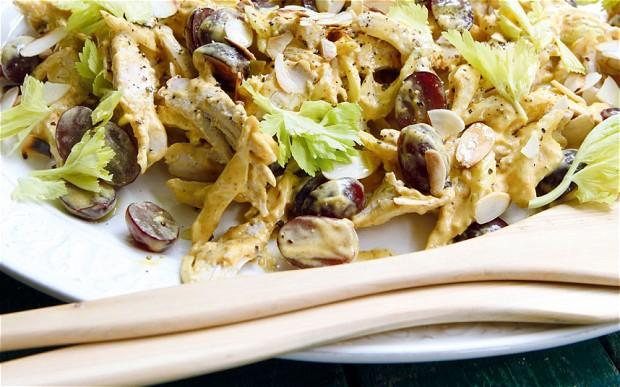 Coronation chicken with blueberries and almonds
