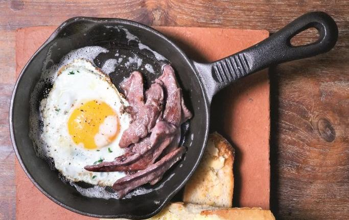 Duck 'bacon' and eggs