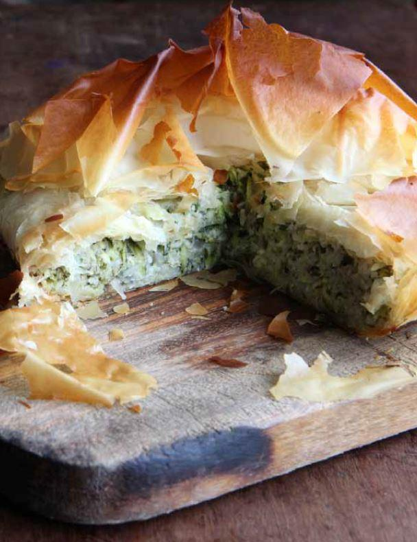 Courgette and rice filo pie
