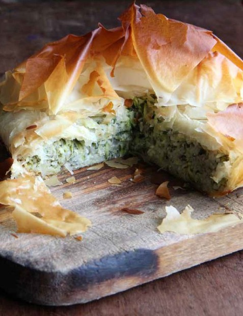 Courgette and rice filo pie