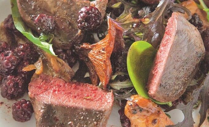 Pigeon with blackberries and chanterelles