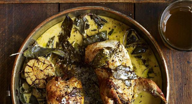 Roast partridge with sage, thyme & cider