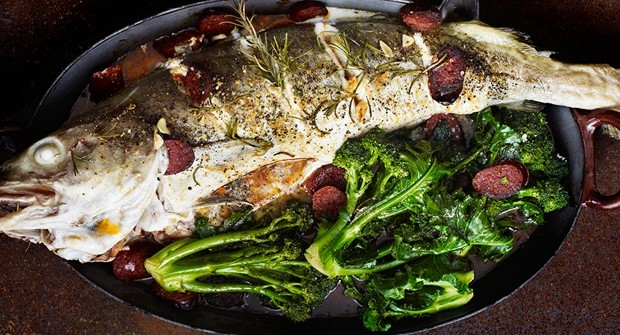 Slashed and roast cod with chorizo, rosemary & purple-sprouting broccoli