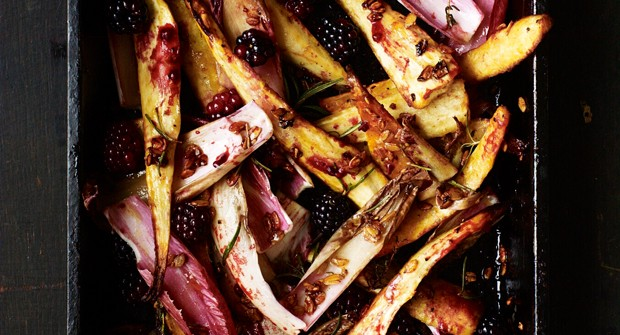 Roast parsnips with blackberries & chicory