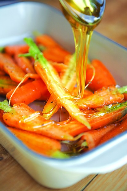 Honey roast carrots