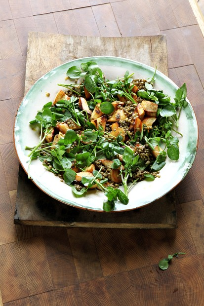 Roasted parsnip, puy lentil and watercress salad