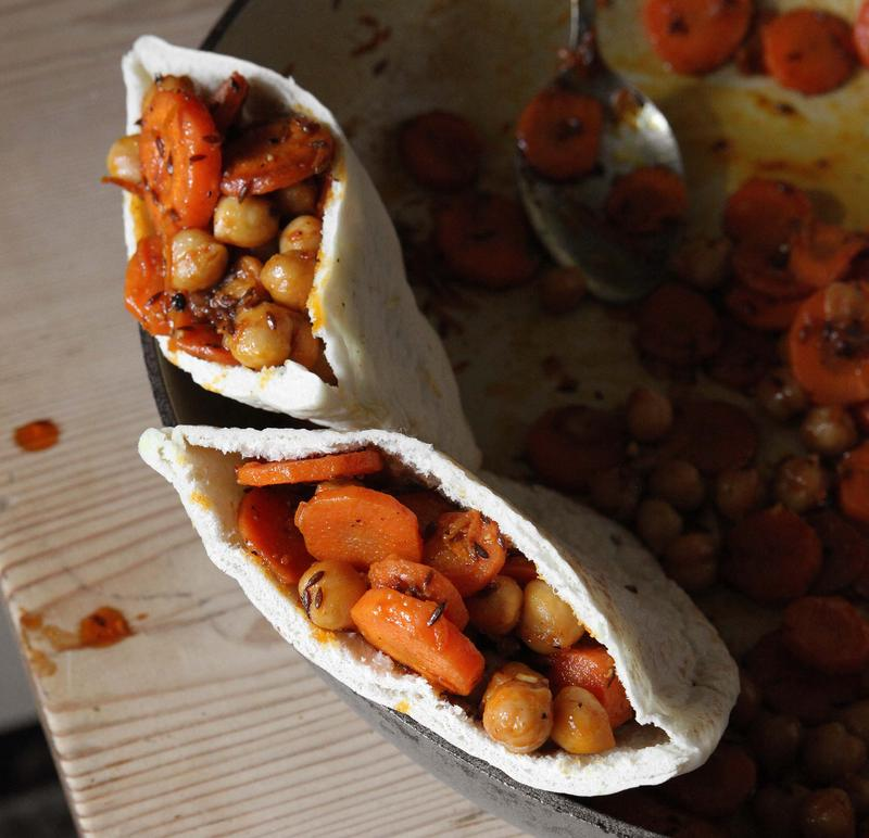 Spicy carrot and chickpea pitta pocket
