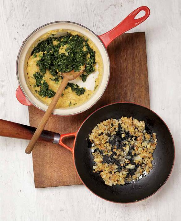 Lentils with onion and watercress