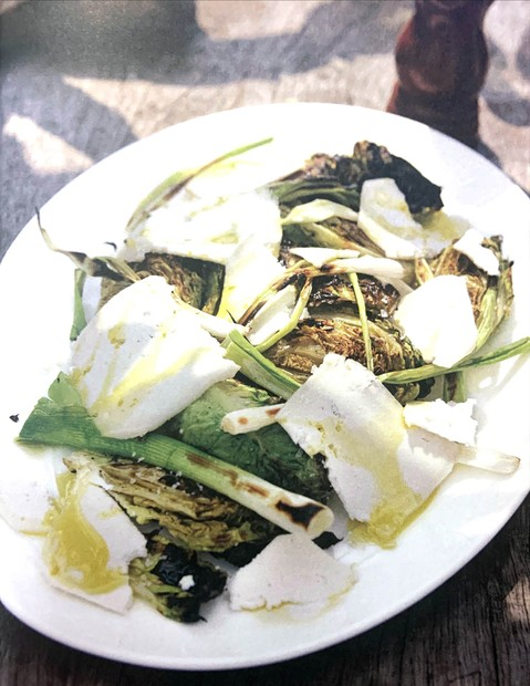 Barbecued Little Gems, spring onions with goat's cheese