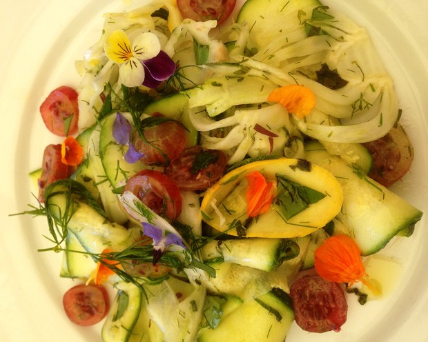 Marinated courgette, shaved fennel and gooseberry salad