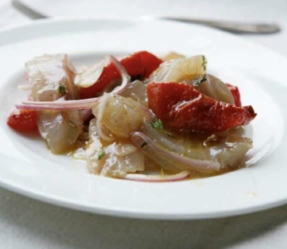 Marinated salt bream with roast tomatoes