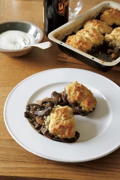 Mushrooms, scone, soured cream