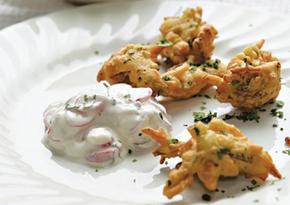 Spring onion bhajis with radish raita