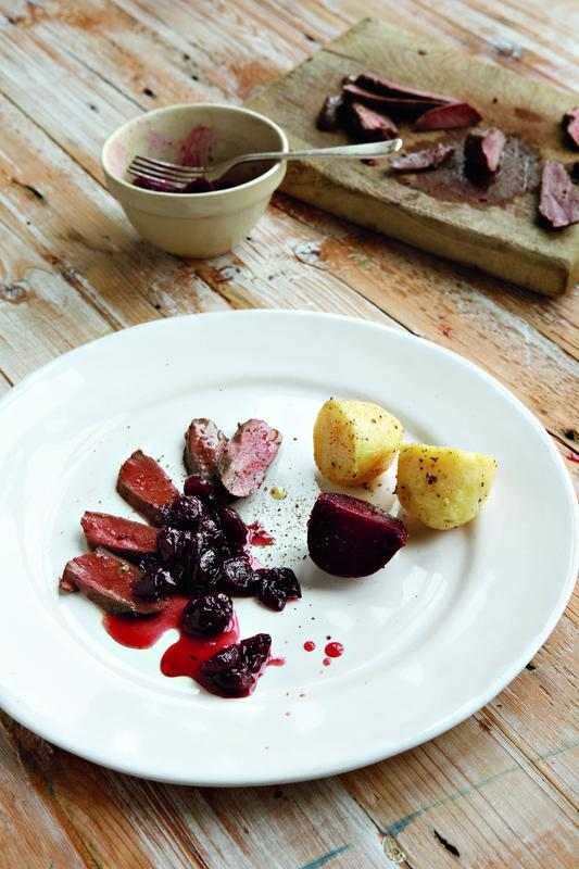 Pigeon breasts with morello cherry sauce