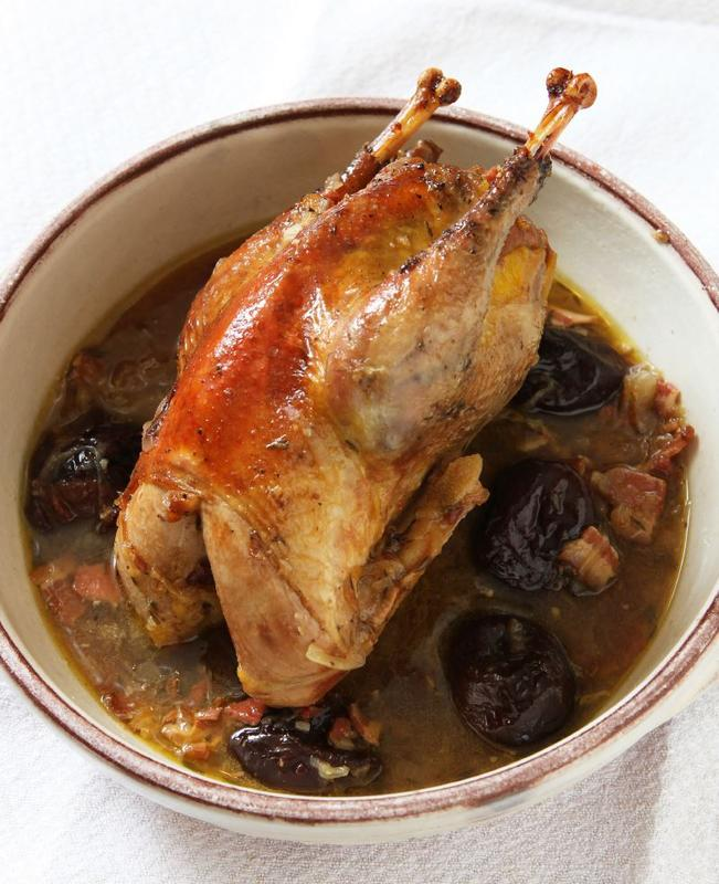 Pheasant, bacon and prunes