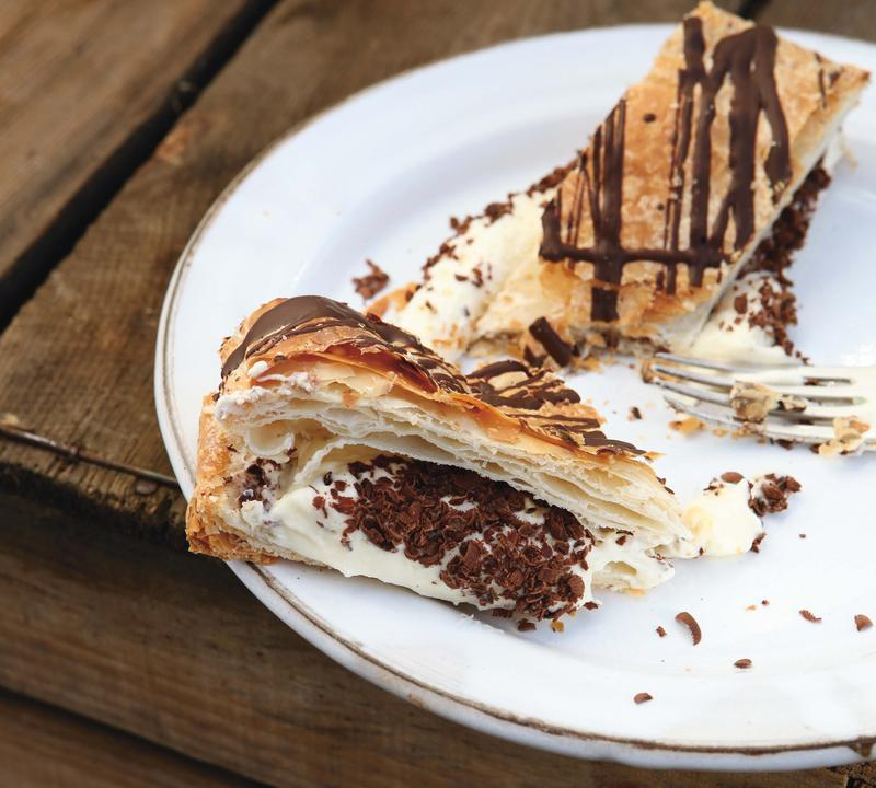 Puff pastry, cream, chocolate