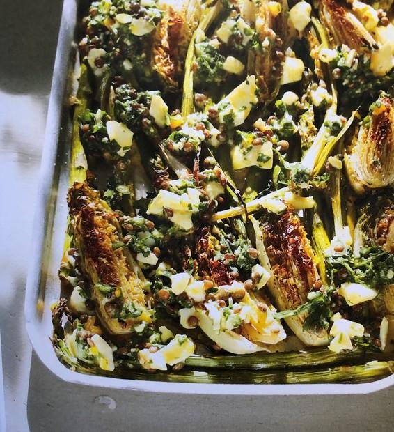 Roast asparagus and little gems with lentils & boiled eggs