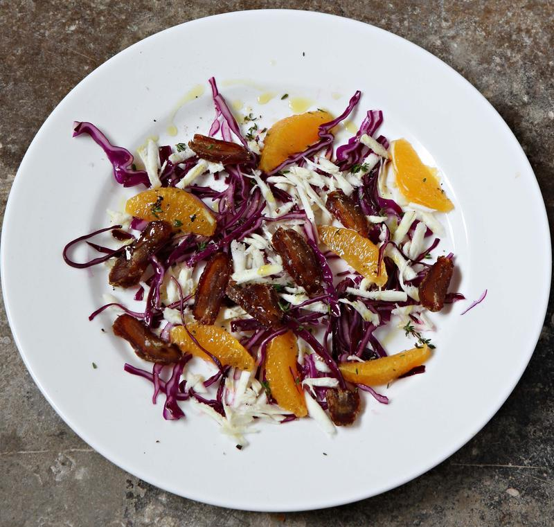 Red cabbage, parsnip, orange and dates