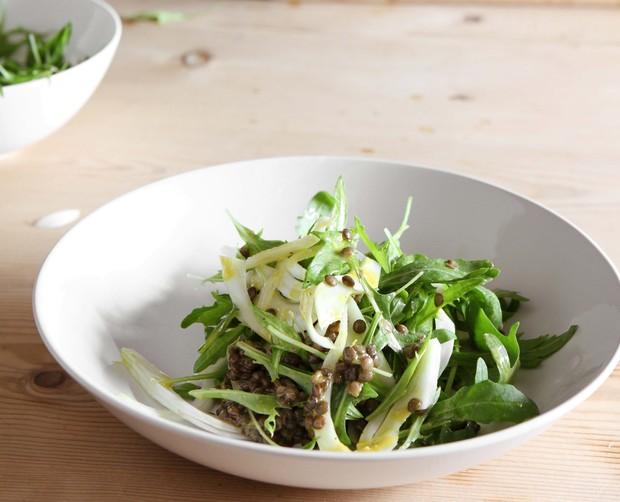 Rocket, fennel and puy lentil salad
