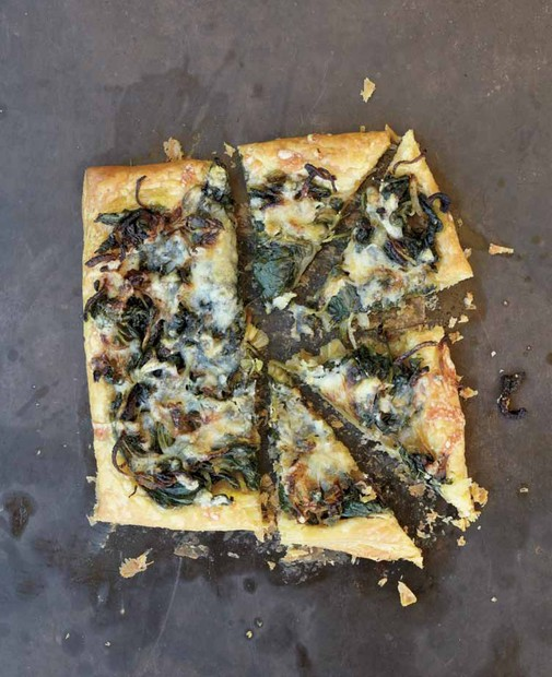 Spinach and onion puff tart