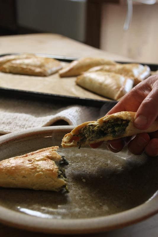 Spinach and thyme pasties