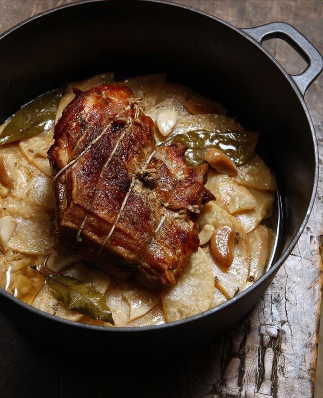 Pork, celeriac, garlic